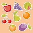 Stock Vector: Cute cartoon fruit set