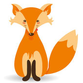 Illustration of cute cartoon fox — Stock Vector