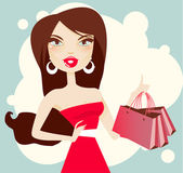 Beautiful brunette woman with shopping bags — Stock Vector