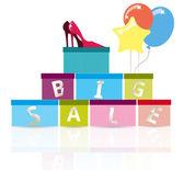 Grande vendita scarpe colorate illustrazione — Vettoriale Stock