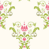 Elegance floral pattern with pink flower and green leaves — Stock Vector