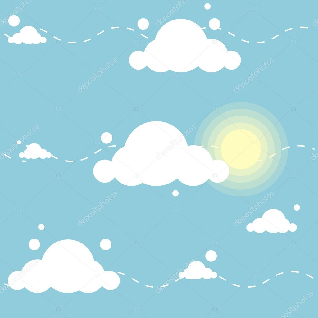 Cute cartoon pattern with clouds and sun — Stock Vector ...