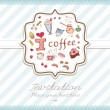 Pretty greeting card with hand-drawn sweets i love coffee — Stok Vektör