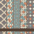 Set of abstract geometric seamless patterns grey blue orange — Stok Vektör