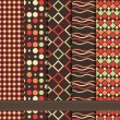 Set of abstract geometric seamless patterns grey brown red — Image vectorielle