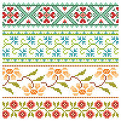 Set of embroidery pretty flower borders — Vector de stock