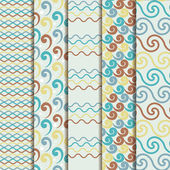 Set of pretty colorful seamless patterns wave — Stock Vector