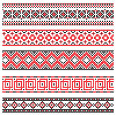Set of decorative cross stitch borders red and black — Stock Vector