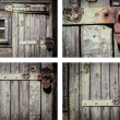 Stock Photo: Rustic house wall background set