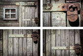 Rustic house wall background set — Stock Photo