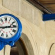Antique external clock on railway station — Stock Photo #13526878