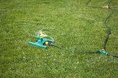 Lawn sprinkler over green grass — Stock Photo