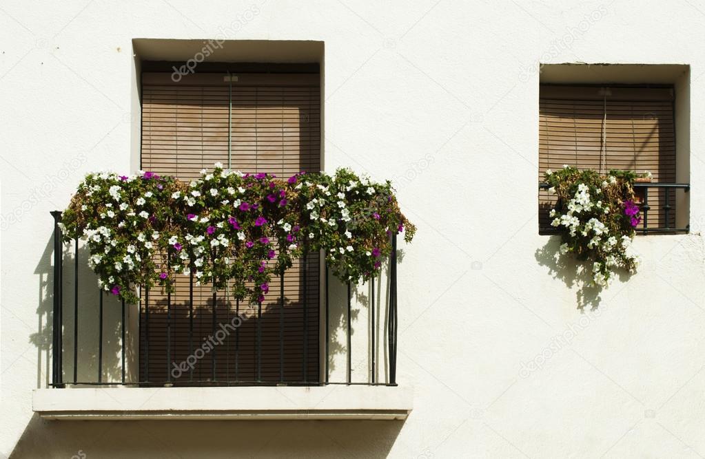 Classic balcony with flowers . stock photo colourbox.
