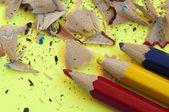 Color pencils and pencil peels — Stock Photo