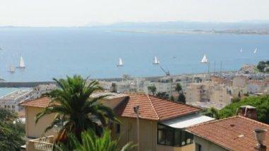 Panorama de nice. Yachts en mer — Vidéo