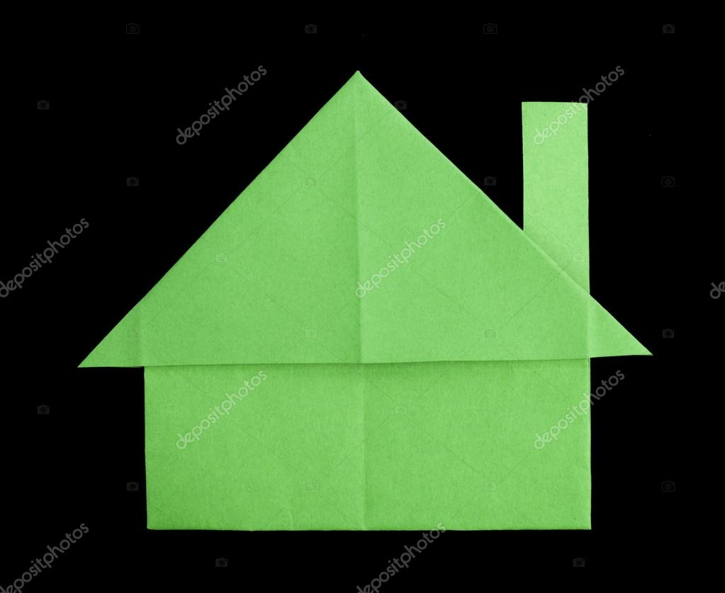 Green house paper made folded origami style. — Stock Photo #14735279