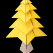 Yellow christmas tree black isolated — Stock Photo