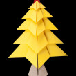 Yellow christmas tree black isolated — Foto Stock