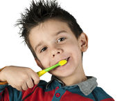 Boy brushing his teeth — Stock Photo