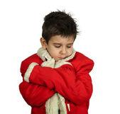 Little boy dressed with Santa suit — Stok fotoğraf