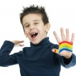 Boy hands painted with colorful paint — Stock Photo #16231989
