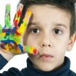 Boy hand painted with colorful paint — Stock Photo #16232095