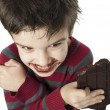 Stock Photo: Smiling little boy eating chocolate