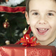 图库照片: Happy child receive the gift of Christmas