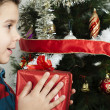 Happy child receive the gift of Christmas — Foto de Stock
