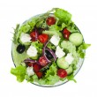 Stock Photo: Salad in glass bowl on white background