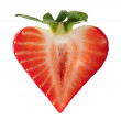 Strawberry heart shape — ストック写真