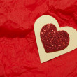 Red heart brocade shape — Stock Photo