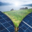 Ecology conception with solar panels — Stock Photo