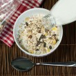 Muesli breakfast in package.Bottle milk and spoon — Stock Photo #21720943