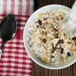 Muesli breakfast in package.Bottle milk and spoon — Stock Photo