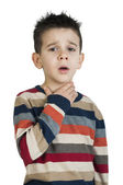 Child have sore throat sick — Stock Photo