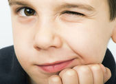 Little boy wink of an eye — Foto Stock