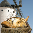 Different breads and windmill in the background — Stock Photo #27370035