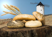Different breads and windmill in the background — Photo