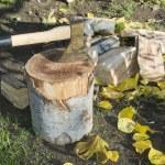 Ax chopping wood on chopping block — Stock Photo #34214925