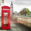 Stock Photo: Big ben and red phone cabine