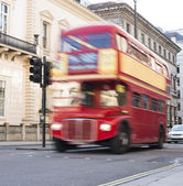 Red vintage bus in London. — Stock Photo