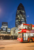 Red Bus in City of London — Stock Photo