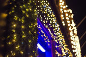 Christmas lights in shopping center — Stockfoto