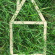 Model house made on green grass — Stock Photo #37926075