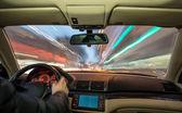 Car interior on driving. — Stock Photo