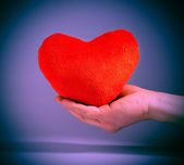 Vintage look red plush heart. — Stock Photo