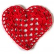 Knitted red heart — Stock Photo