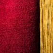 Red velvet curtain with tassel — Stock Photo