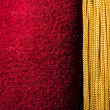 Stock Photo: Red velvet curtain with tassel
